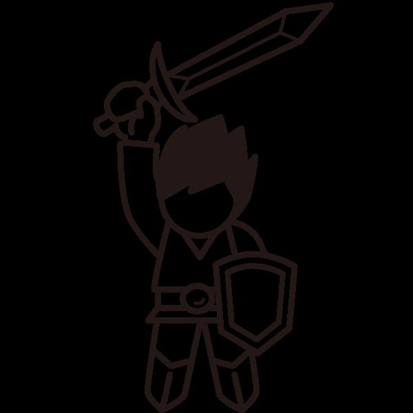 剣を掲げた人、勇者、ヒーロー